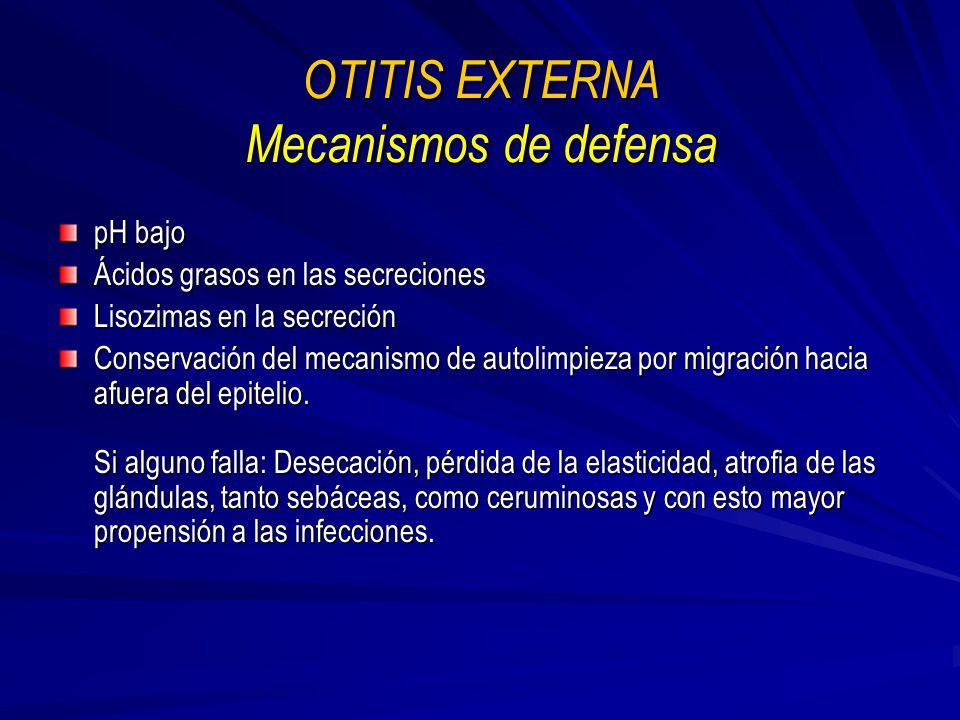 OTITIS EXTERNA Mecanismos de defensa