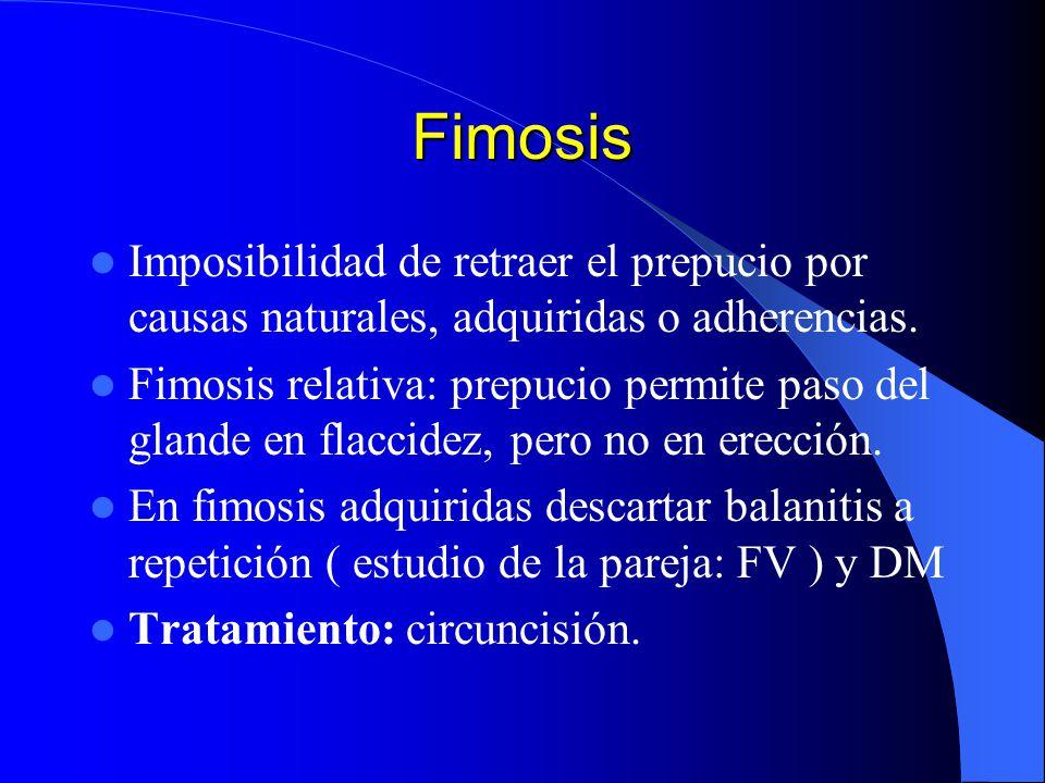 Fimosis Imposibilidad de retraer el prepucio por causas naturales, adquiridas o adherencias.