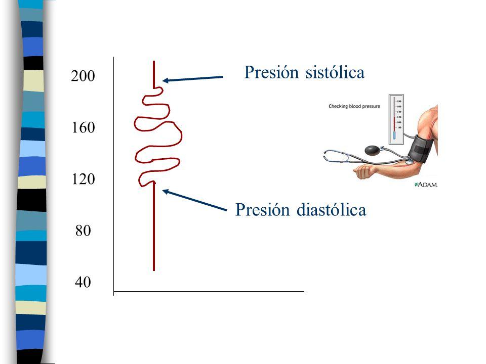 Presión sistólica 200 160 120 Presión diastólica 80 40