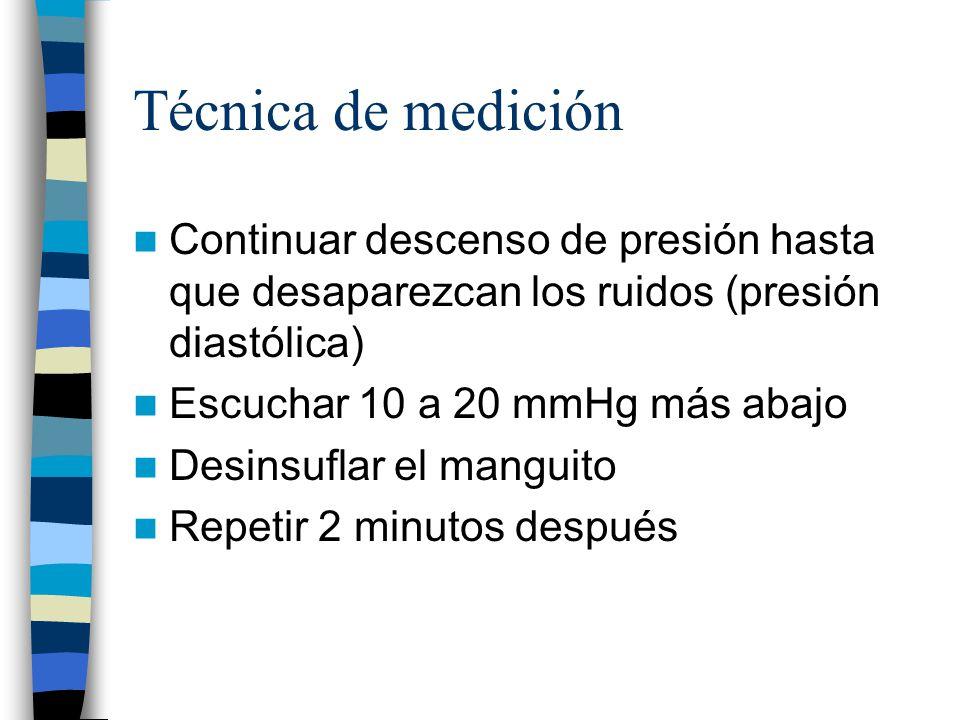 Técnica de medición Continuar descenso de presión hasta que desaparezcan los ruidos (presión diastólica)