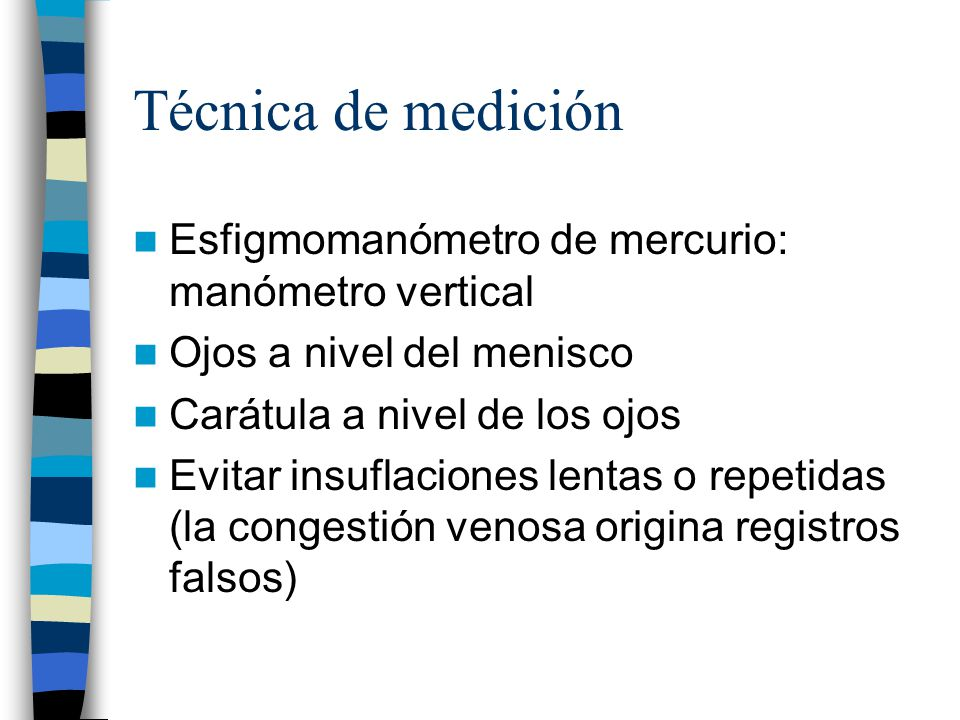 Técnica de medición Esfigmomanómetro de mercurio: manómetro vertical