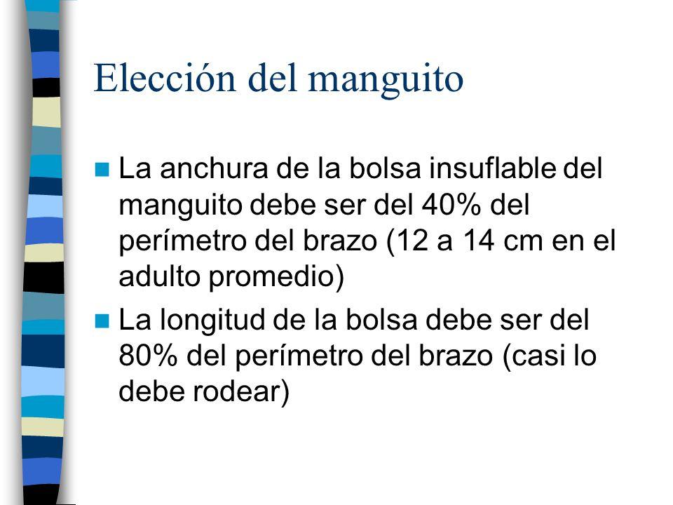 Elección del manguito La anchura de la bolsa insuflable del manguito debe ser del 40% del perímetro del brazo (12 a 14 cm en el adulto promedio)