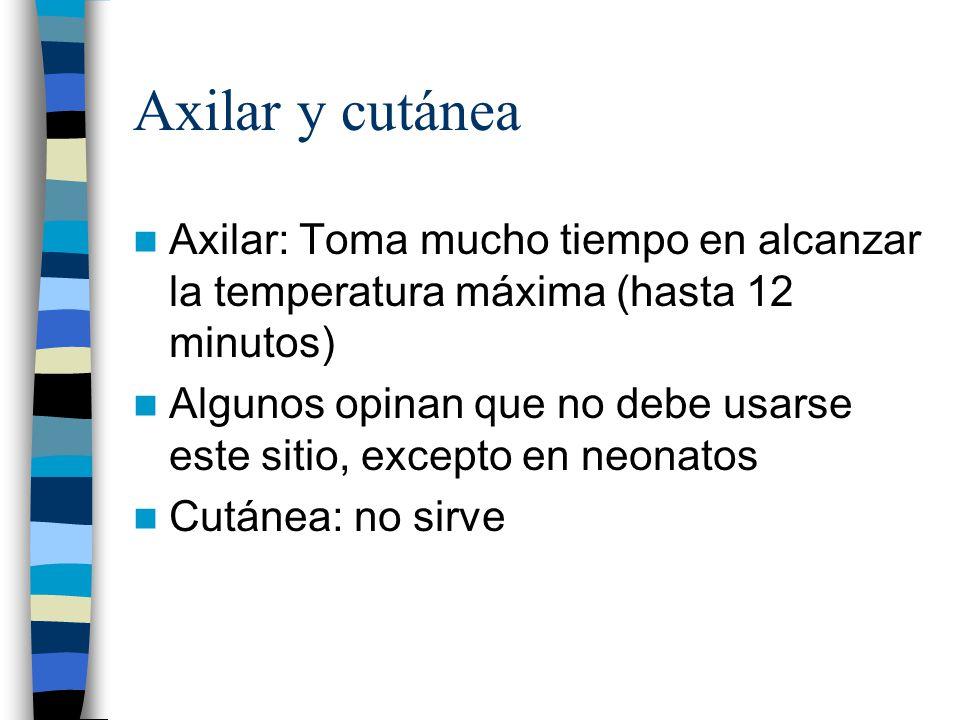 Axilar y cutánea Axilar: Toma mucho tiempo en alcanzar la temperatura máxima (hasta 12 minutos)