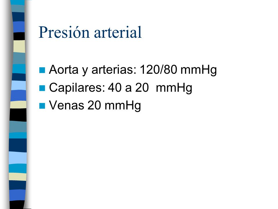 Presión arterial Aorta y arterias: 120/80 mmHg Capilares: 40 a 20 mmHg