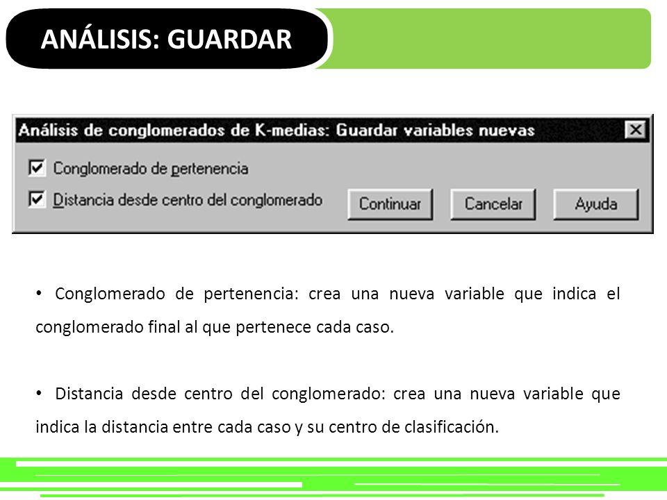 ANÁLISIS: GUARDAR Conglomerado de pertenencia: crea una nueva variable que indica el conglomerado final al que pertenece cada caso.