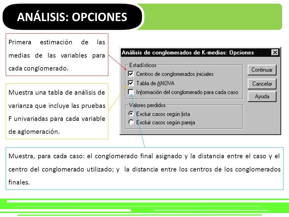 ANÁLISIS: OPCIONES Primera estimación de las medias de las variables para cada conglomerado.