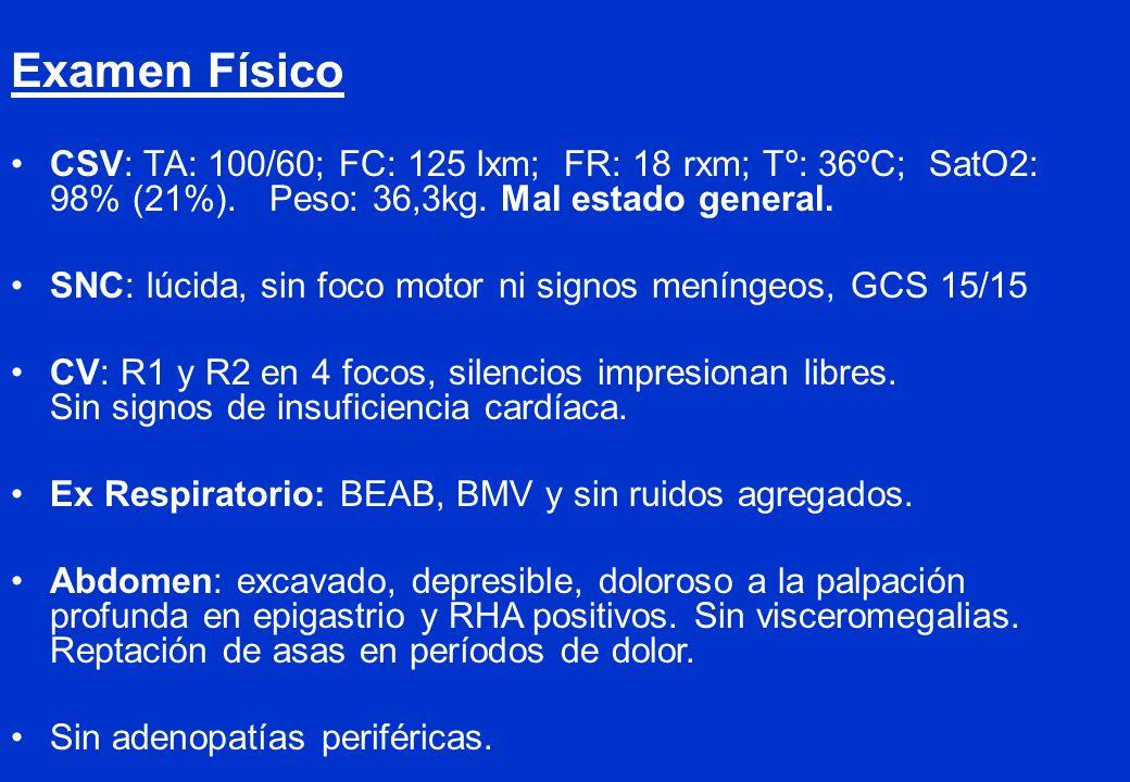 Examen Físico CSV: TA: 100/60; FC: 125 lxm; FR: 18 rxm; Tº: 36ºC; SatO2: 98% (21%). Peso: 36,3kg. Mal estado general.