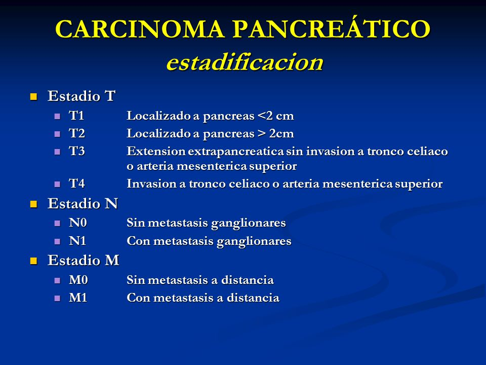 CARCINOMA PANCREÁTICO estadificacion