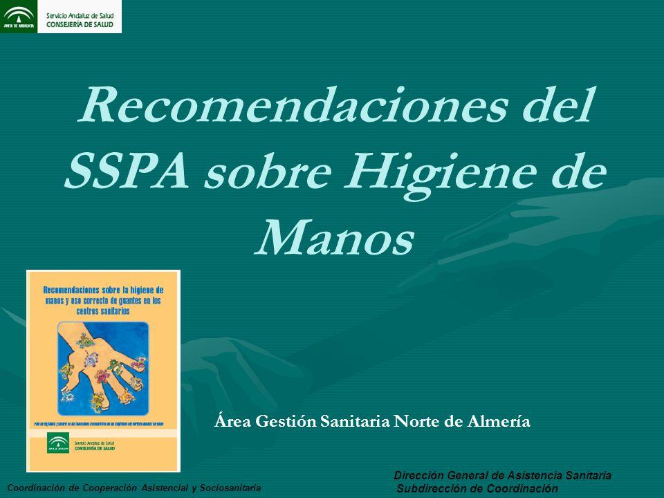 Recomendaciones del SSPA sobre Higiene de Manos