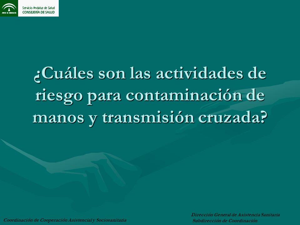 ¿Cuáles son las actividades de riesgo para contaminación de manos y transmisión cruzada