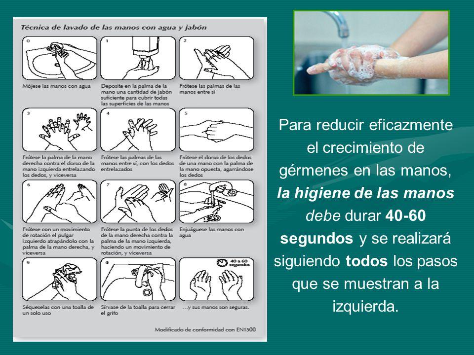 Para reducir eficazmente el crecimiento de gérmenes en las manos,