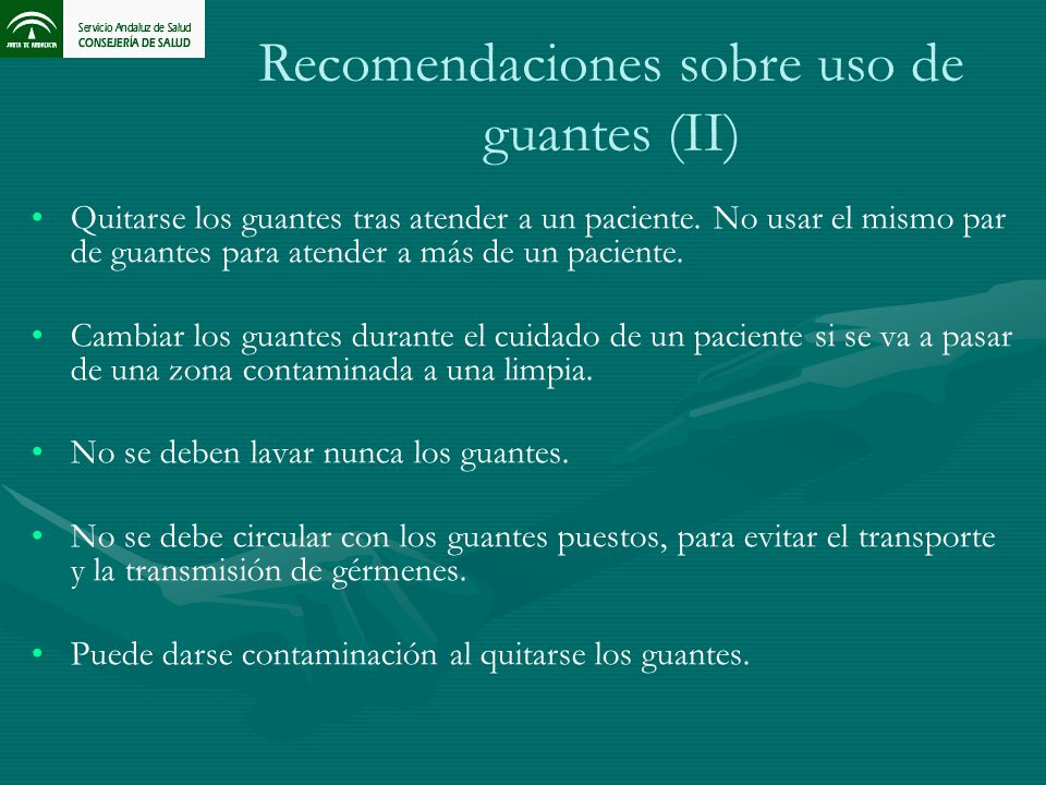Recomendaciones sobre uso de guantes (II)