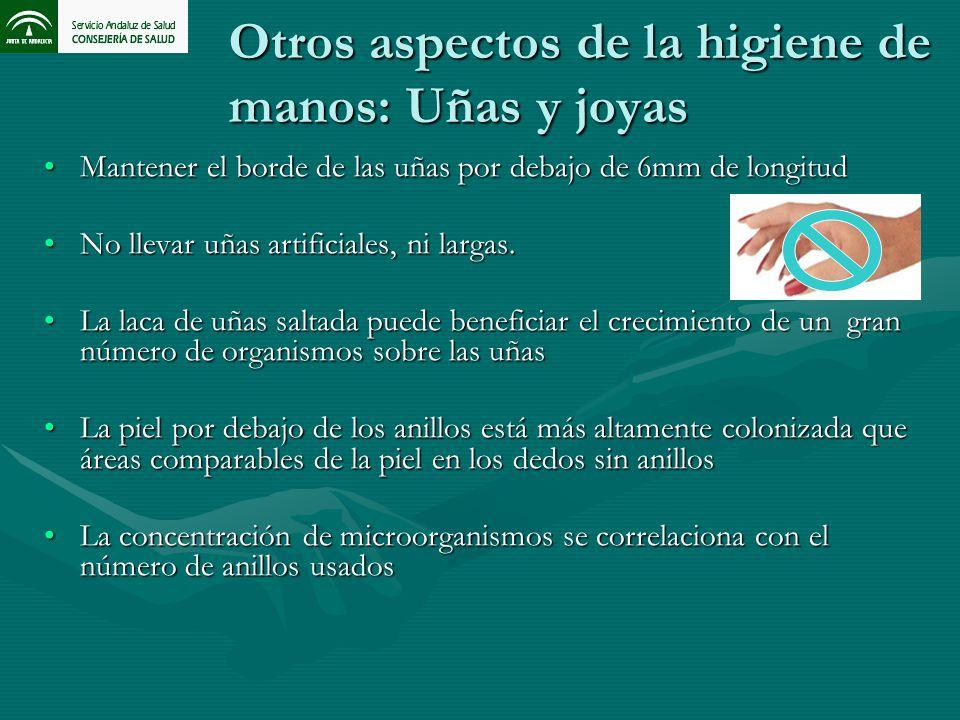 Otros aspectos de la higiene de manos: Uñas y joyas