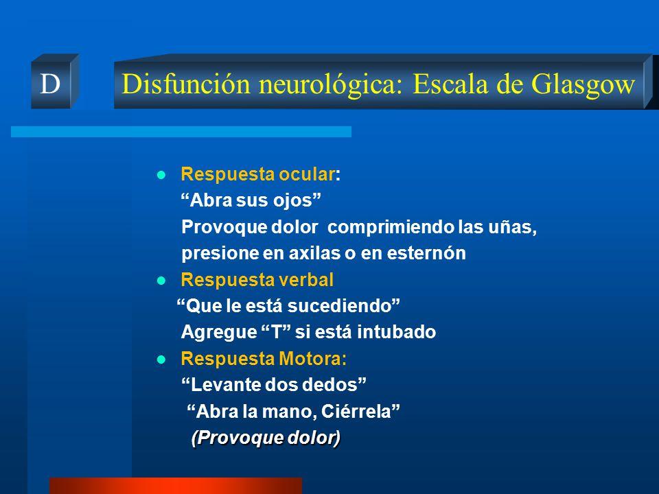 Disfunción neurológica: Escala de Glasgow