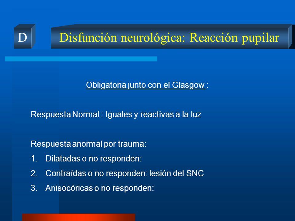 Disfunción neurológica: Reacción pupilar