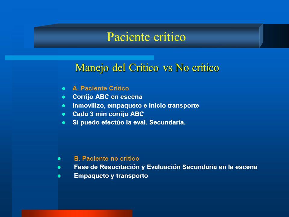 Paciente crítico Manejo del Crítico vs No crítico A. Paciente Crítico