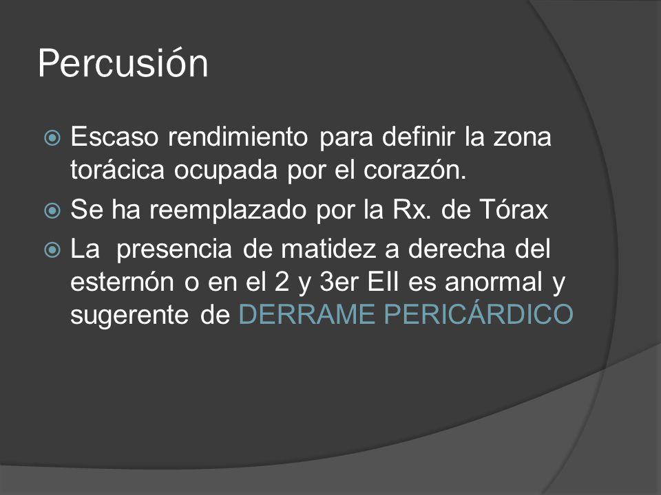 Percusión Escaso rendimiento para definir la zona torácica ocupada por el corazón. Se ha reemplazado por la Rx. de Tórax.