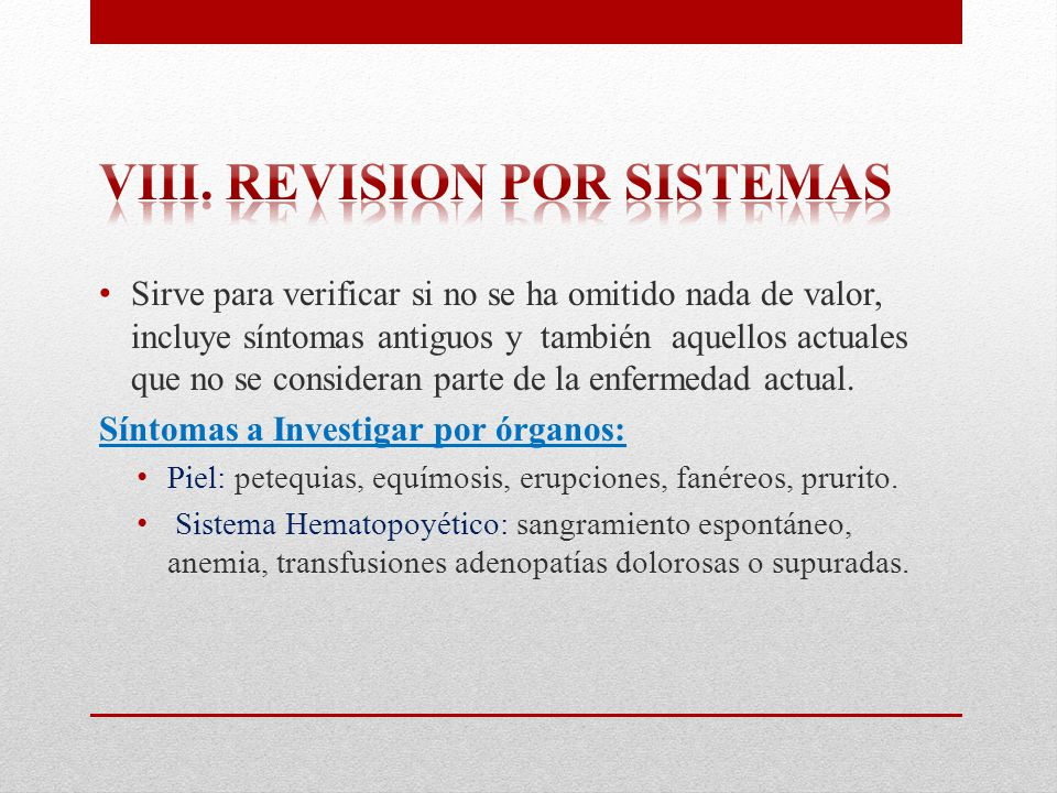 Viii. Revision por sistemas