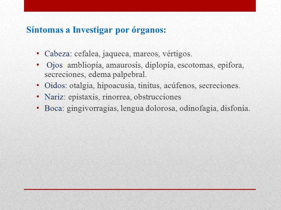 Síntomas a Investigar por órganos: