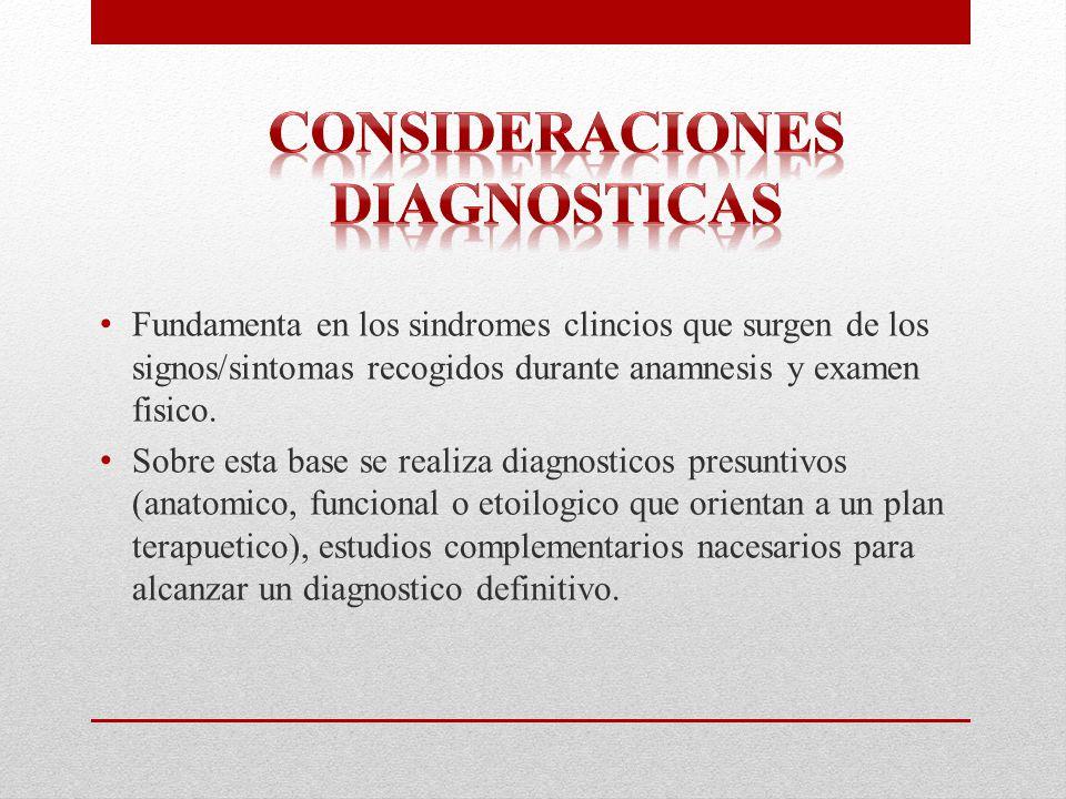 Consideraciones diagnosticas