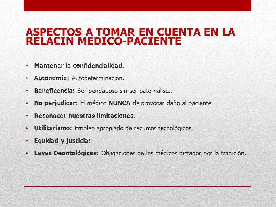 ASPECTOS A TOMAR EN CUENTA EN LA RELACIN MEDICO-PACIENTE