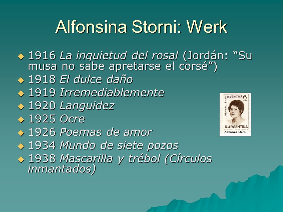 Alfonsina Storni: Werk