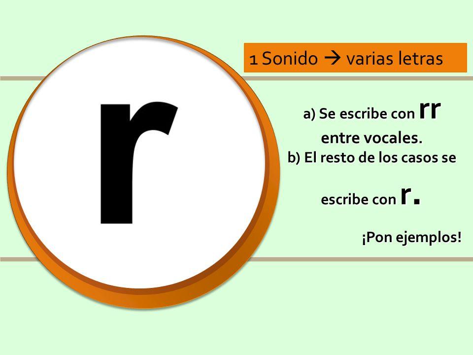 1 Sonido  varias letrasa) Se escribe con rr entre vocales. b) El resto de los casos se escribe con r.