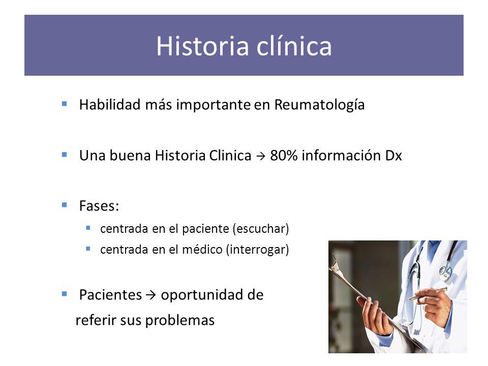 Historia clínica Habilidad más importante en Reumatología