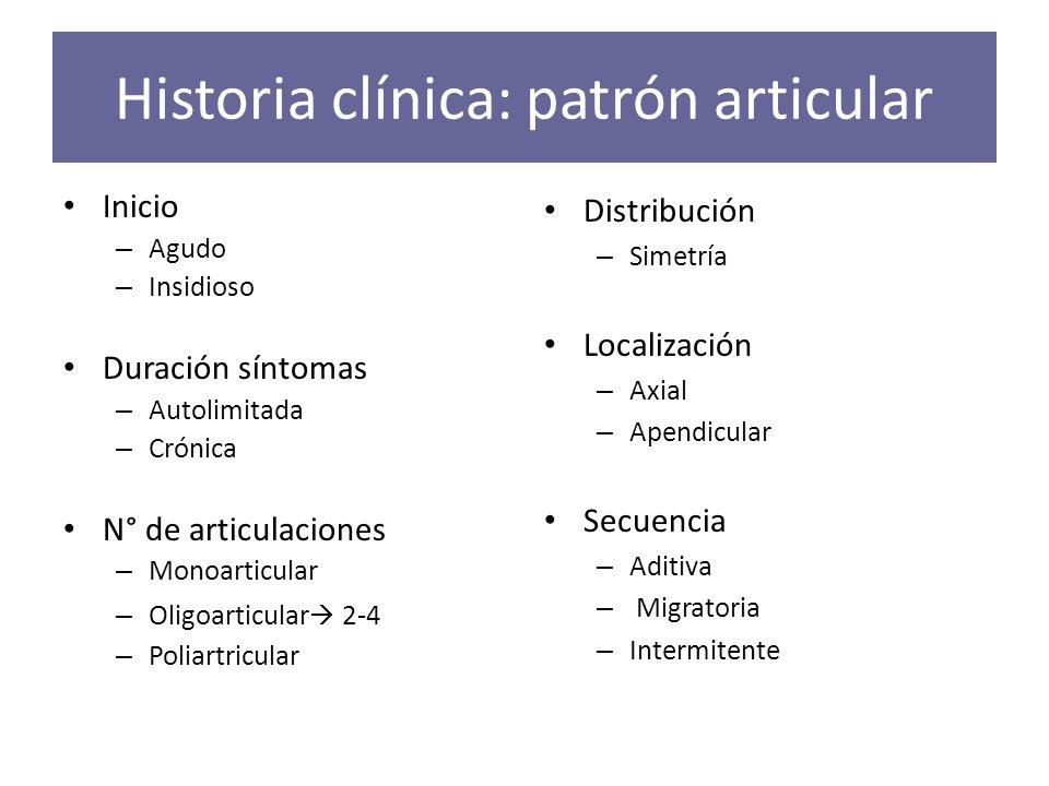 Historia clínica: patrón articular