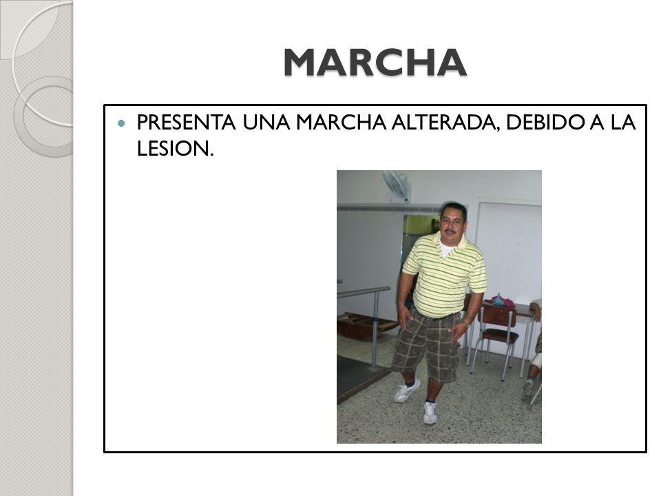 MARCHA PRESENTA UNA MARCHA ALTERADA, DEBIDO A LA LESION.