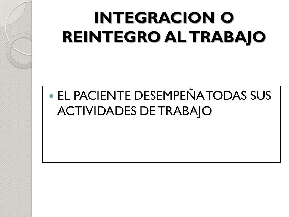 INTEGRACION O REINTEGRO AL TRABAJO