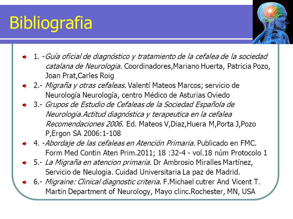 Bibliografia 1. -Guía oficial de diagnóstico y tratamiento de la cefalea de la sociedad.