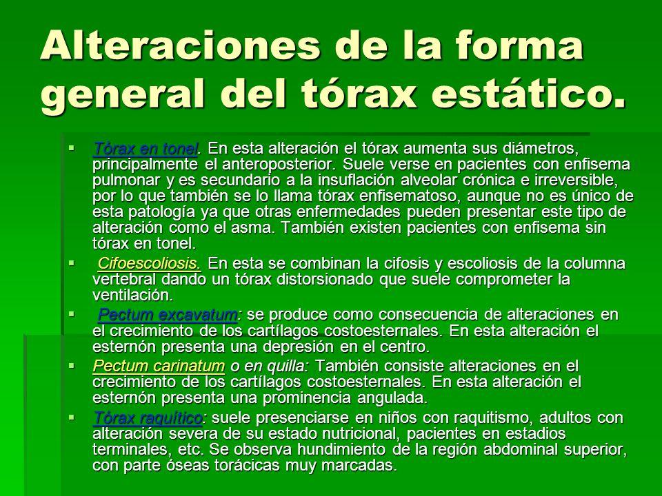 Alteraciones de la forma general del tórax estático.