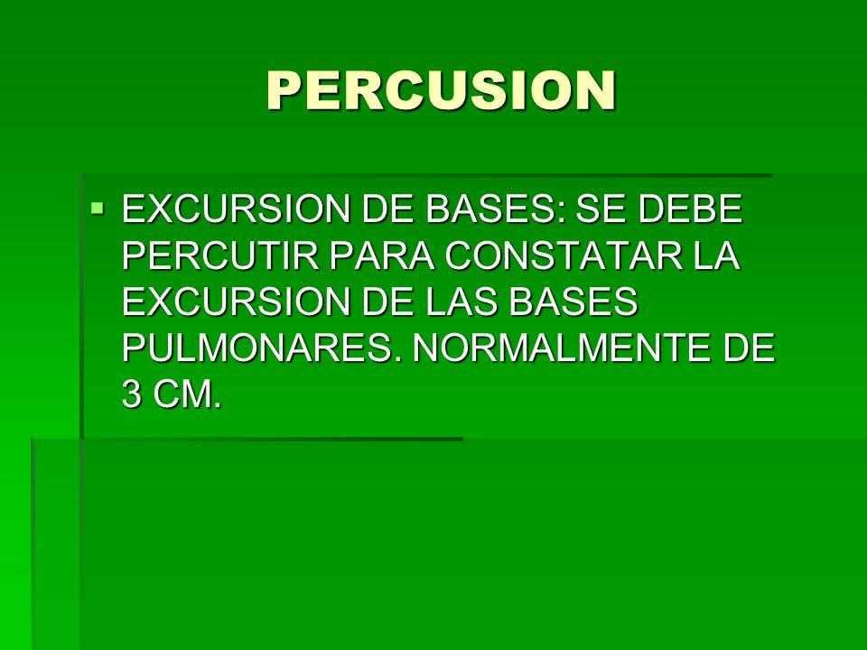 PERCUSION EXCURSION DE BASES: SE DEBE PERCUTIR PARA CONSTATAR LA EXCURSION DE LAS BASES PULMONARES.