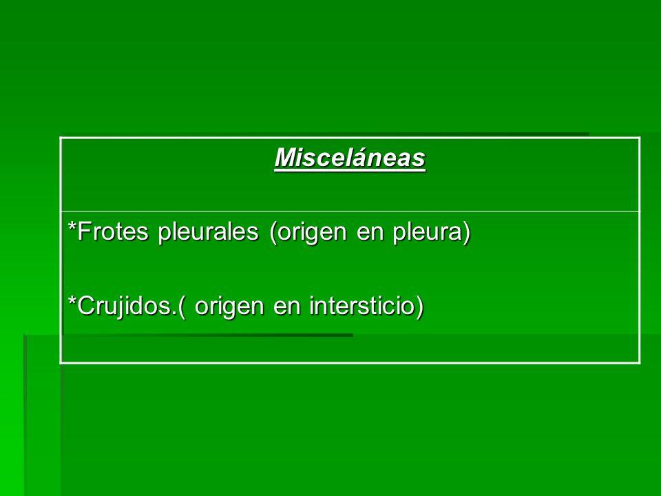 Misceláneas *Frotes pleurales (origen en pleura) *Crujidos.( origen en intersticio)