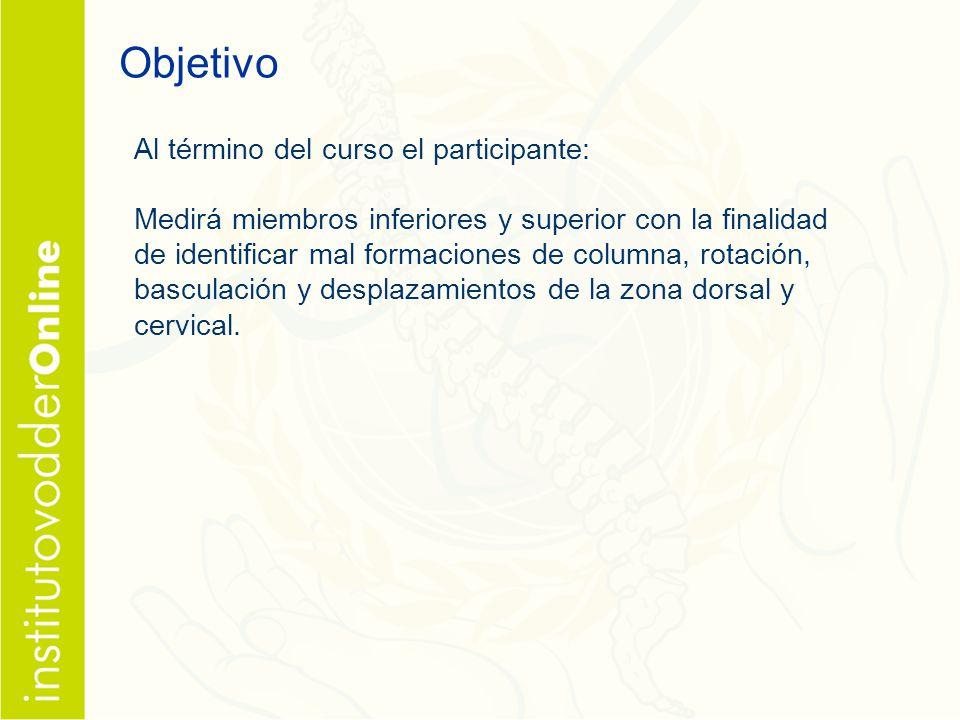 Objetivo Al término del curso el participante: