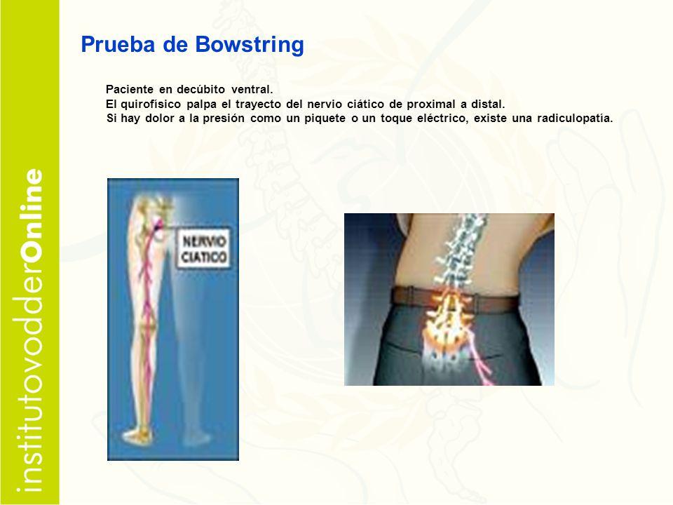 Prueba de Bowstring Paciente en decúbito ventral.