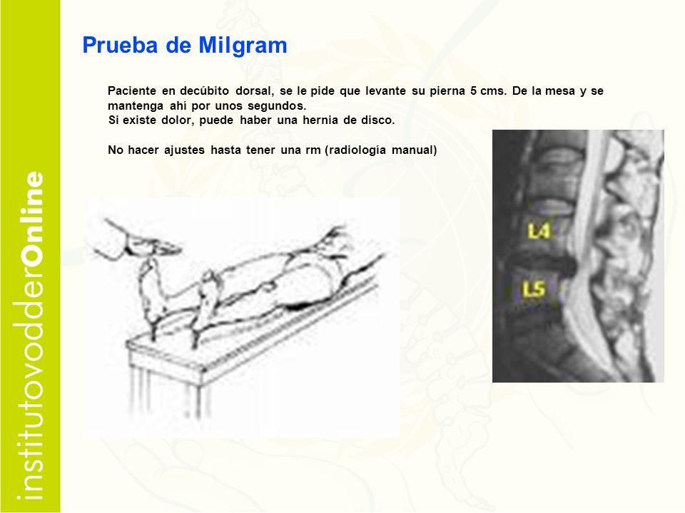 Prueba de Milgram Paciente en decúbito dorsal, se le pide que levante su pierna 5 cms. De la mesa y se mantenga ahí por unos segundos.