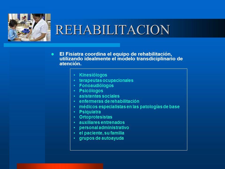 REHABILITACION El Fisiatra coordina el equipo de rehabilitación, utilizando idealmente el modelo transdiciplinario de atención.