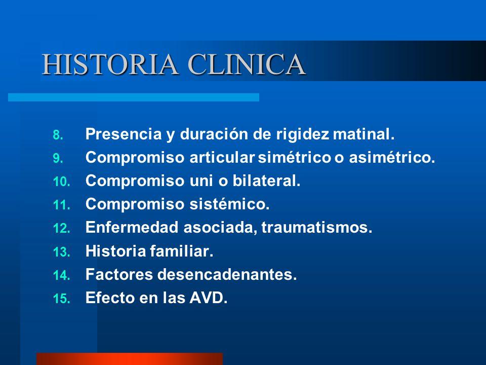 HISTORIA CLINICA Presencia y duración de rigidez matinal.