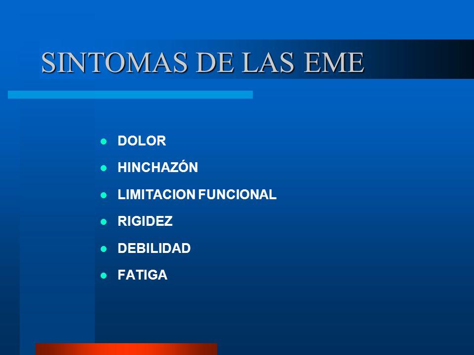 SINTOMAS DE LAS EME DOLOR HINCHAZÓN LIMITACION FUNCIONAL RIGIDEZ