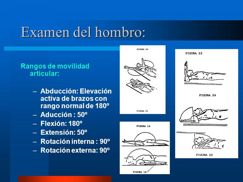 Examen del hombro: Rangos de movilidad articular: