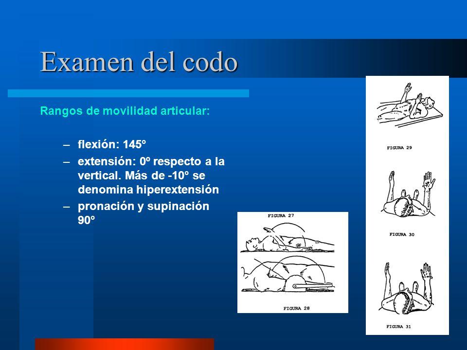 Examen del codo Rangos de movilidad articular: flexión: 145°