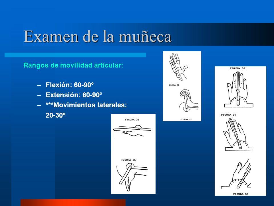 Examen de la muñeca Rangos de movilidad articular: Flexión: 60-90°