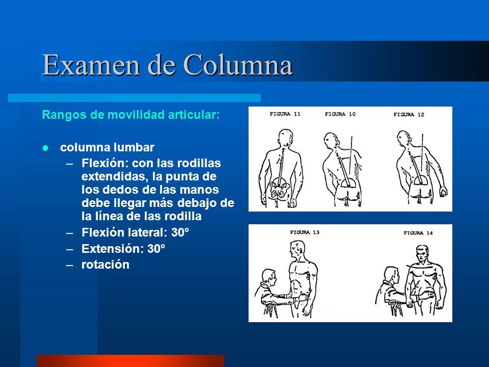 Examen de Columna Rangos de movilidad articular: columna lumbar