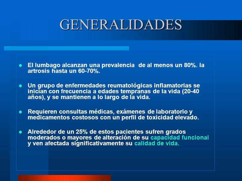 GENERALIDADES El lumbago alcanzan una prevalencia de al menos un 80%. la artrosis hasta un 60-70%.