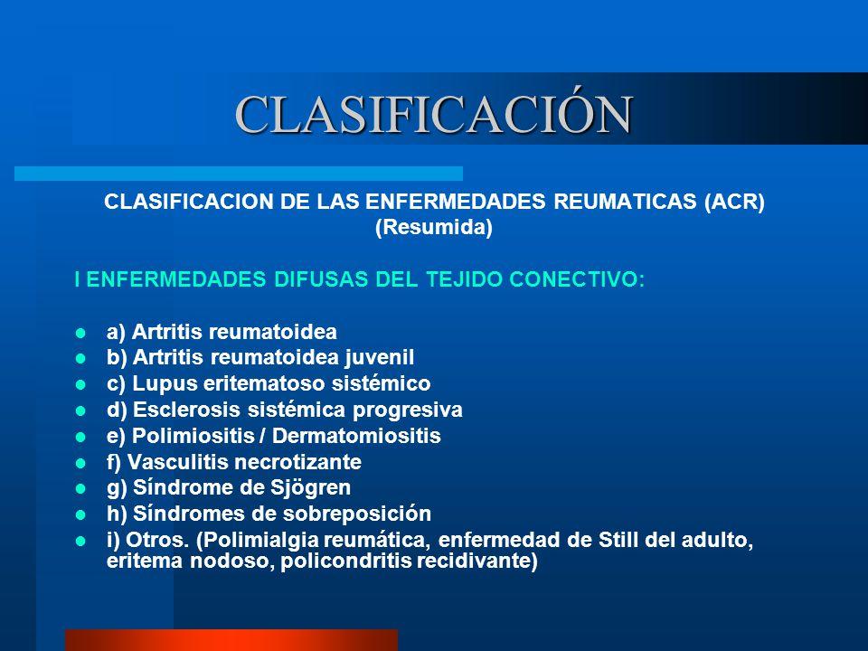 CLASIFICACION DE LAS ENFERMEDADES REUMATICAS (ACR)