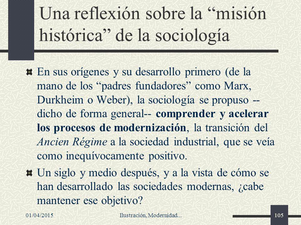 Una reflexión sobre la misión histórica de la sociología