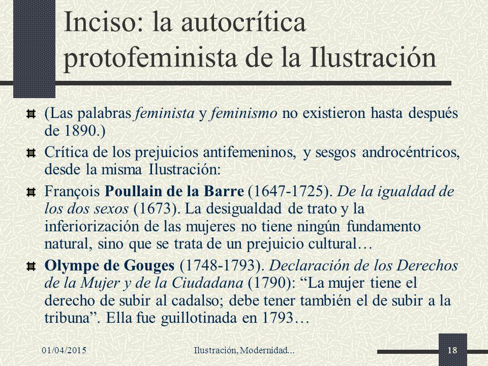 Inciso: la autocrítica protofeminista de la Ilustración