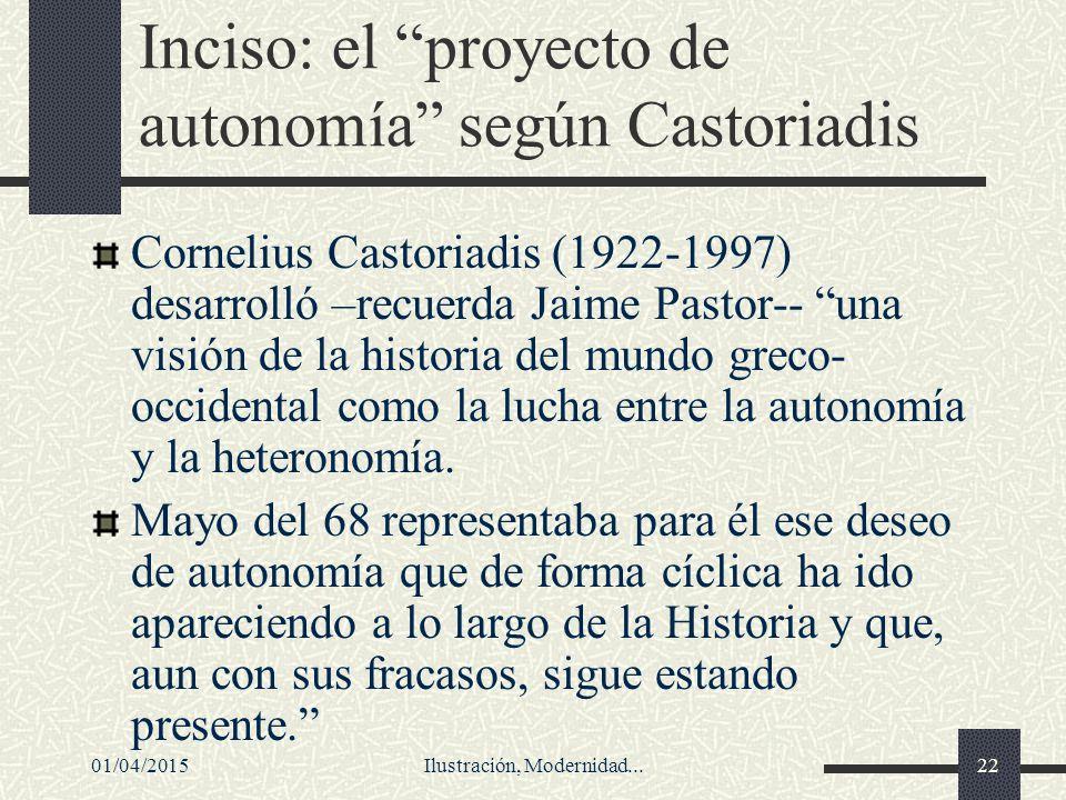 Inciso: el proyecto de autonomía según Castoriadis
